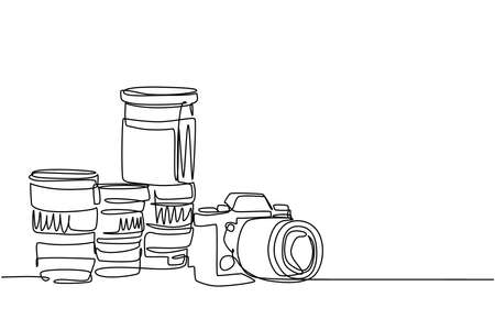 One single line drawing of old retro analog slr camera with set of telephoto and wide lenses. Vintage classic photography equipment concept continuous line draw design vector graphic illustration