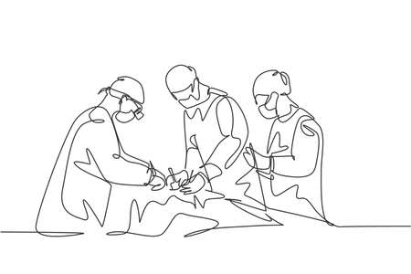 Single continuous single line drawing group of team surgeon doctor doing surgery operation to the patient with critical condition. Operating surgery concept one line draw design vector illustration