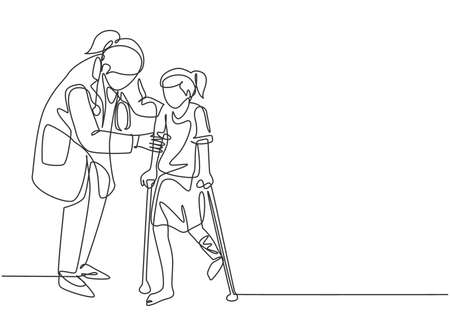 One continuous line drawing of female pediatric doctor doing therapy by helping young girl patient to get walk using crutch. Medical health care concept single line draw design vector illustration