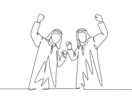One single line drawing of young happy muslim employees celebrate their job promotion. Saudi Arabian with shmag; kandora; headscarf; thobe; ghutra. Continuous line draw design vector illustration 向量圖像