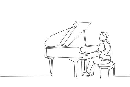 Single continuous line drawing of young happy male pianist playing classic grand piano on music concert orchestra. Musician artist performance concept one line draw design graphic vector illustration
