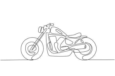 One continuous line drawing of retro old vintage motorcycle icon. Classic motorbike transportation concept single line draw design graphic vector illustration