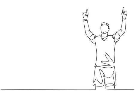 One single line drawing of young football player feels gratitude and pointing the fingers to the sky after goal scoring. Match goal celebration concept continuous line draw design vector illustration