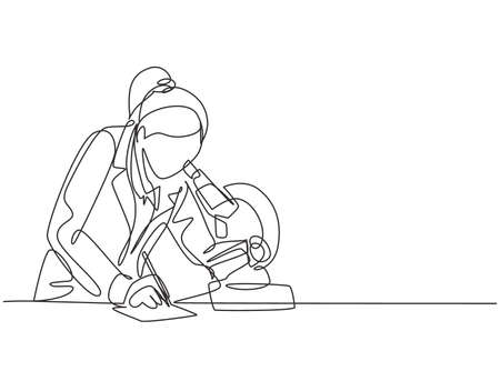 One continuous line drawing of female scientist researching antibiotic formula using microscope to find covid vaccine. Coronavirus medical research concept single line draw design vector illustration