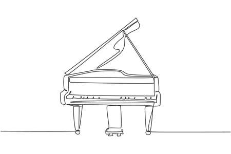 One continuous line drawing of luxury analog grand piano. Trendy classical music instruments concept single line draw design graphic vector illustration