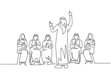 One single line drawing of young happy muslim business coach teaching how to do good presentation. Saudi Arabia cloth shmag, kandora, headscarf, thobe. Continuous line draw design vector illustration