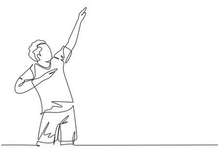 Single continuous line drawing of young male sporty football player raises his hands up to the sky on the field. Match soccer goal celebration concept one line draw design vector illustration