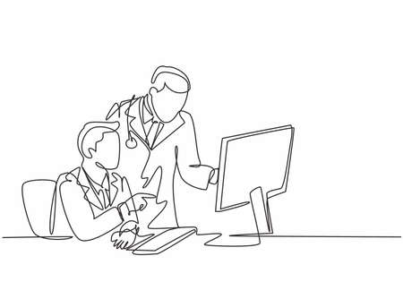 One continuous line drawing of two young male doctors discussing while watching patient medical record at computer screen. Hospital health care concept single line draw design vector illustration 일러스트