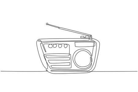 One continuous line drawing of retro old fashioned radio. Classic vintage analog broadcaster technology concept. Trendy single line graphic draw design vector illustration Vektoros illusztráció