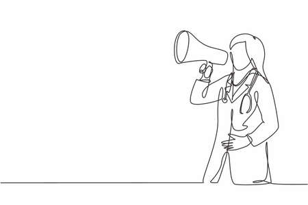 Single continuous line drawing of young female doctor announced important information to the patient using loudspeaker megaphone. Medical health worker concept one line draw design vector illustration