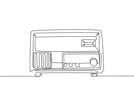 Single continuous line drawing of retro old fashioned analog radio. Classic vintage broadcaster technology concept. Music player one line draw design graphic vector illustration