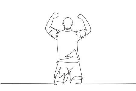 One continuous line drawing of sporty young soccer player raises his fist hands up to the sky emotionally on field. Match goal scoring celebration concept single line draw design vector illustration