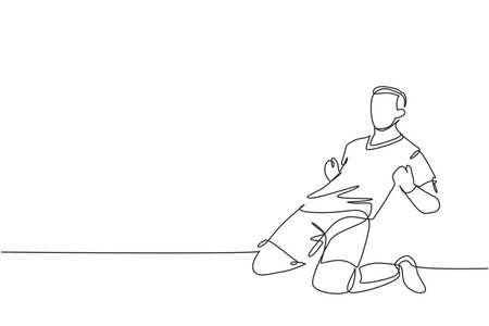 One continuous line drawing of young sporty soccer player sliding on the field emotionally after scoring a goal. Match goal scoring celebration concept single line draw design vector illustration Ilustração