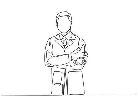 One single line drawing of young happy male doctor pose standing while hold a stethoscope and cross hands on chest. Medical healthcare service concept continuous line draw design vector illustration
