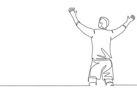 One continuous line drawing of sporty young soccer player spreading his arms and screaming loudly on the field. Match goal scoring celebration concept single line draw design vector illustration Stock Illustratie