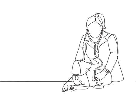 One single line drawing of young happy female veterinarian examining and take care of a sick dog because of a virus. Pet health care service concept continuous line draw design vector illustration