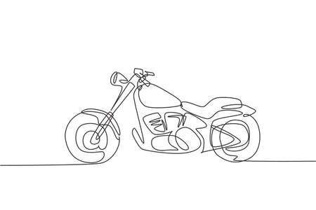 Single continuous line drawing of old classic vintage motorcycle symbol. Retro motorbike transportation concept one line graphic draw design vector illustration