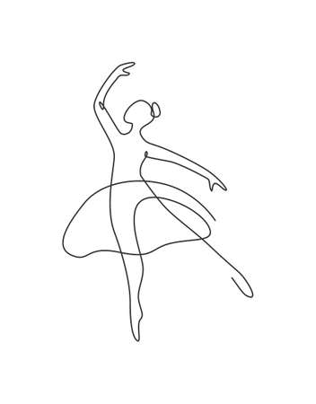 One continuous line drawing woman beauty ballet dancer in elegance motion. Minimalist  girl ballerina performs dance concept. Wall decor print. Single line draw design graphic vector illustration Illustration