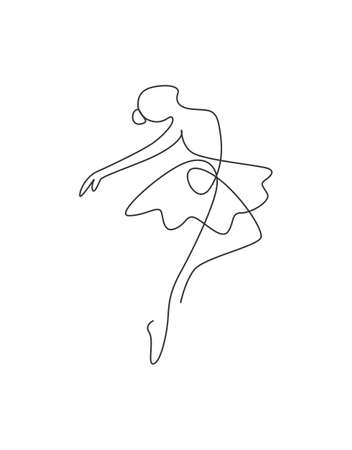 One single line drawing   woman ballerina vector illustration. Minimalist pretty ballet dancer show dance motion concept. Wall decor poster fashion print. Modern continuous line draw graphic design