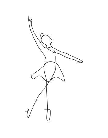 Single continuous line drawing ballerina in ballet motion dance style. Beauty minimalist dancer concept, Scandinavian poster print art. Trendy one line draw design graphic vector illustration