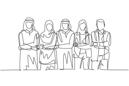 One single line drawing of young happy male ande female muslim managers holding hands together. Saudi Arabia cloth shmag, kandora, headscarf, thobe. Continuous line draw design vector illustration