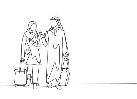 Single continuous line drawing of young male and female muslim managers talking after do business trip abroad. Arab middle east cloth kandura, thawb, hijab. One line draw design vector illustration