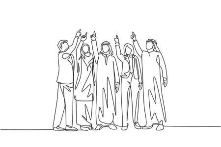 Single continuous line drawing of young male and female muslim managers pointing finger up to the sky. Arab middle east cloth shmagh, kandura, hijab, robe. One line draw design vector illustration