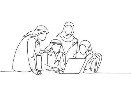 One single line drawing of young muslim business community discussing social project together. Saudi Arabia cloth shmag, headscarf, ghutra, hijab, veil. Continuous line draw design vector illustration