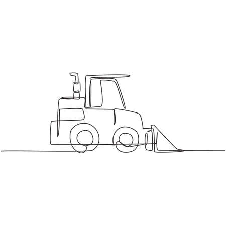 One single line drawing of bulldozer for road repair, business commercial vehicles vector illustration. Heavy backhoe machines vehicles construction concept. Modern continuous line draw design