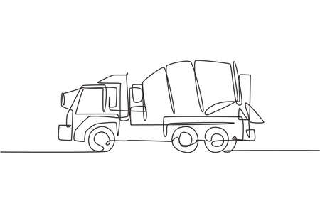 One single line drawing of truck mixer for mobile mixing cement vector illustration, commercial vehicle. Heavy machines vehicles construction concept. Modern continuous line graphic draw design