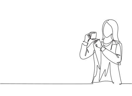 One continuous line drawing of young marketing manager make a quiet gesture with finger while holding a cup of coffee drink. Drinking tea concept single line draw graphic design vector illustration