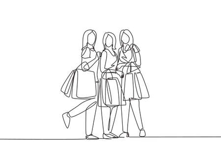Single continuous line drawing group of beauty women holding paper bags while shopping together at mall. Business retail shopping concept. One line draw vector graphic design illustration
