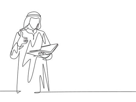 One single line drawing of young male muslim businessman giving thumbs up getures while read a book. Saudi Arabia cloth kandora, headscarf, ghutra. Continuous line draw design vector illustration
