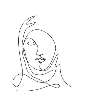 Single continuous line drawing beautiful aesthetic portrait woman abstract face. Pretty female silhouette in hijab minimalist style concept. Trendy one line draw design vector graphic illustration