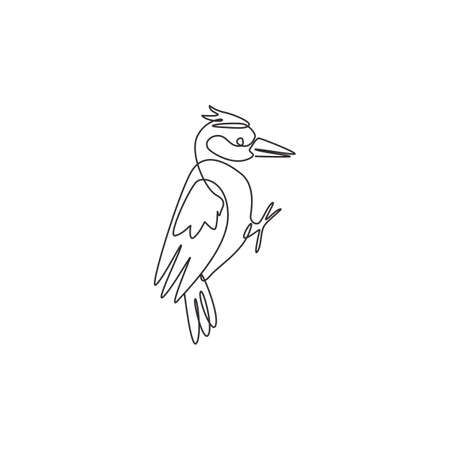 One single line drawing of adorable woodpecker identity. Cute bird mascot concept for national conservation park icon. Modern continuous line draw design vector graphic illustration