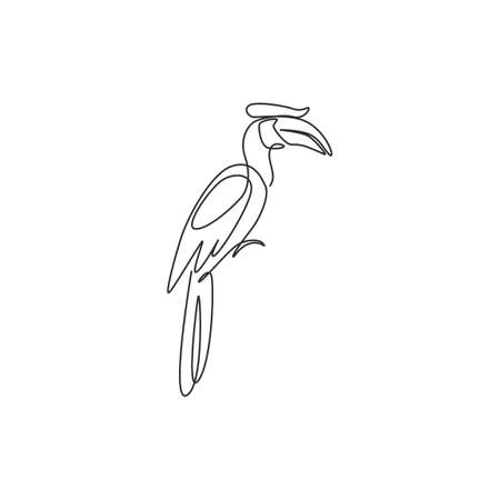 One single line drawing of adorable hornbill for zoo identity. Large size bird mascot concept for bird lover club icon. Modern continuous line draw design graphic vector illustration