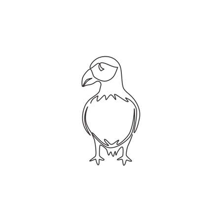 One single line drawing of funny puffin for organisation   identity. Adorable sea bird mascot concept for national conservation park icon. Modern continuous line draw design vector illustration