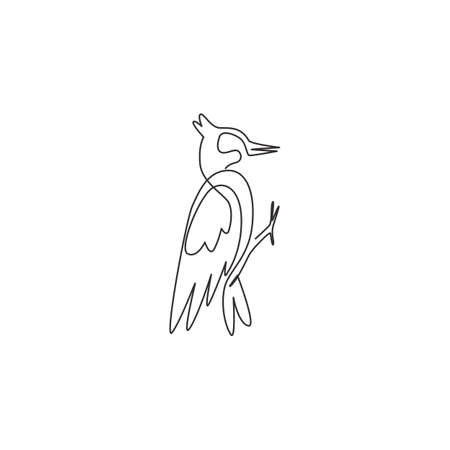 Single continuous line drawing of beauty woodpecker identity. Little cute bird mascot concept for national park icon. Modern one line draw design graphic vector illustration