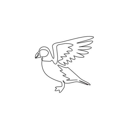One single line drawing of adorable puffin for foundation   identity. Water diver bird mascot concept for national zoo icon. Modern continuous line draw design graphic vector illustration