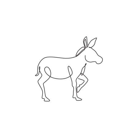 Single continuous line drawing of walking donkey for ranch   identity. Tiny horse size mascot concept for donkey farm icon. Modern one line draw design vector illustration