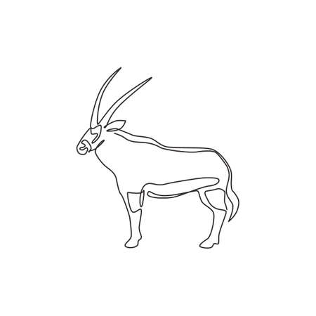 One continuous line drawing of stout oryx   identity. Large African antelope mammal animal mascot concept for safari park icon. Modern single line draw design vector illustration
