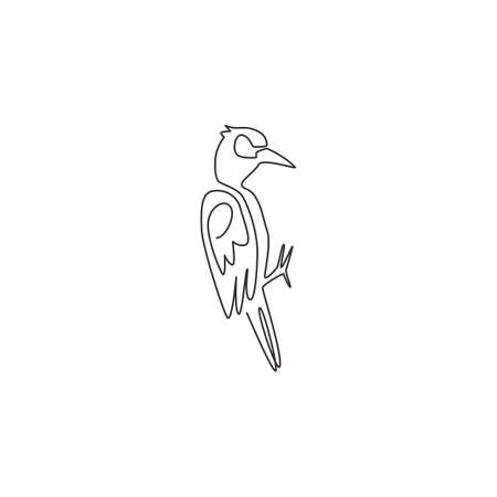 One continuous line drawing of cute woodpecker on tree. Beak drummer bird mascot concept for national zoo icon. Modern single line draw design graphic vector illustration