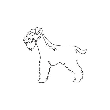 Single one line drawing of adorable miniature schnauzer for company identity. Purebred dog mascot concept for pedigree friendly pet icon. Modern continuous line draw design vector illustration