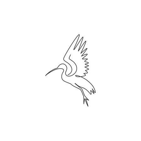 One single line drawing of adorable ibis for foundation  identity. Long down curved beak bird mascot concept for conservation park icon. Modern continuous line draw design vector illustration 向量圖像