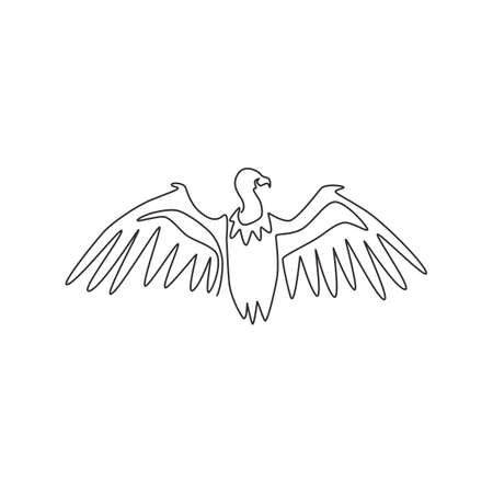 One single line drawing of large vulture for zoo  identity. Scavenging bird of prey mascot concept for national conservation park icon. Modern continuous line draw design vector illustration