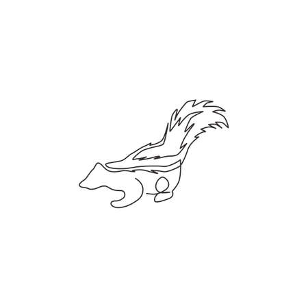 One continuous line drawing of cute striped skunk for identity. Mephitidae north and south American mammal mascot concept for national zoo icon. Modern single line draw design vector illustration