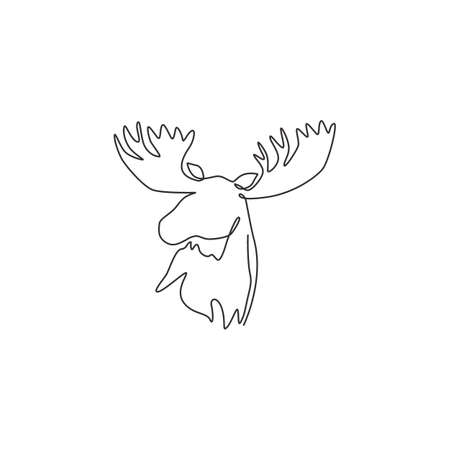 One continuous line drawing of gallant moose head for zoo  identity. mascot concept for national conservation park icon. Single line draw graphic design vector illustration Stock Illustratie