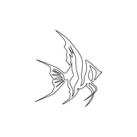 One continuous line drawing of cute freshwater angelfish for company  identity. Beauty pterophyllum fish mascot concept for aquatic show icon. Modern single line draw design vector illustration