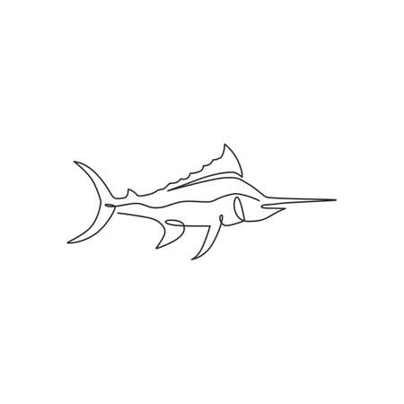 One continuous line drawing of big wild marlin for marine company  identity. Swimming fish mascot concept for fishing competition icon. Single line draw design vector illustration graphic