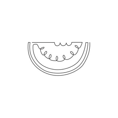 One continuous line drawing of sliced healthy organic watermelon for orchard identity. Fresh fruitage concept for fruit garden icon. Modern single line draw design vector graphic illustration